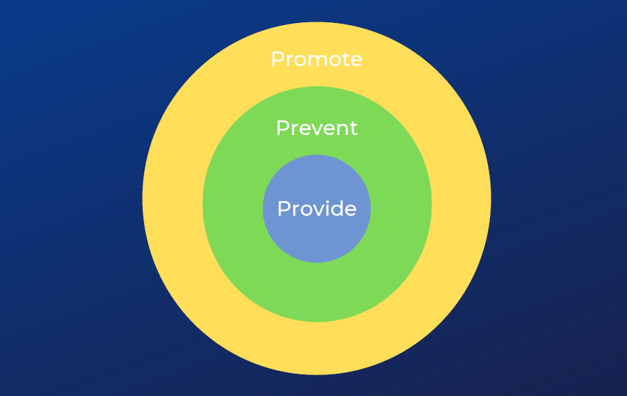 "Circles featuring text:"" Promote, Prevent, Provide"""